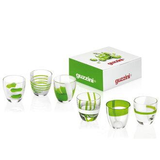 Guzzini ( guccini ) Table Art Glass liqueur 6 p green 28690644 in gift box fs3gm10P28oct13