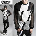 ロングTシャツ メンズ ロンT インポート 長袖 Tシャツ カットソー 編込み メッシュ 切替 V系 個性的 30代 40代 大人 スタイル
