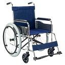 マキテック スチール製車いす 紺ポリエステル 車椅子 自走式 折り畳み 【メーカー直送/代引不可】