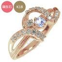 ピンキーリング 18金 リボン アンティーク ミル 指輪 誕生石 送料無料