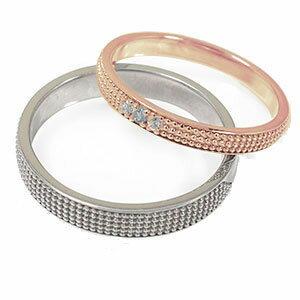 18金 アクアマリン 誕生石 マリッジリング  ミルグレイン 2本セット 結婚指輪 ペア 指輪 レディース メンズ セット価格 送料無料 【素材が選べる】ペアリング k18