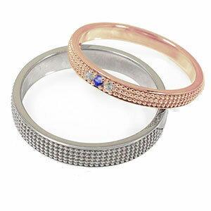 18金 サファイア ミルグレイン 2本セット 結婚指輪 ペア 指輪 誕生石 マリッジリング   レディース メンズ セット価格 送料無料 【素材が選べる】ペアリング k18