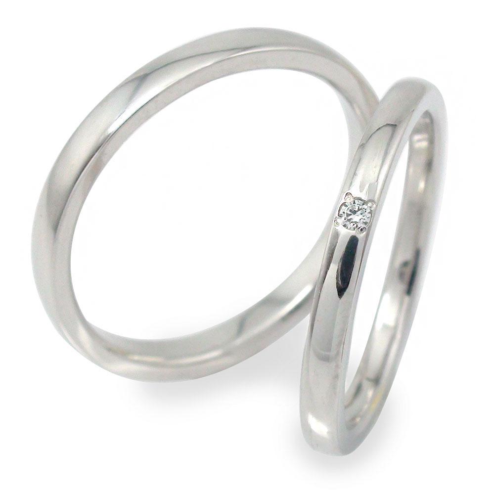 プラチナ ダイヤモンド ペアリング マリッジリング 指輪 誕生石 2本セット 結婚指輪 レディース メンズ セット価格 【送料無料】 【結婚指輪】ペアリング プラチナ900