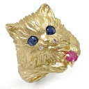 猫 リング K18イエローゴールド ネコ ピンキー 指輪 サファイア ルビ?