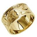 ショッピングリング ハワイアンジュエリー リング 指輪 オーダーメイド お手軽な1.0mm厚 幅10mm 14K ゴールド イエローゴールド フラットリング ハワイ製 手彫りリング メンズ レディース 結婚指輪 マリッジリング ウェディングリング 2号-28号