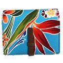 ハワイアン 財布 2つ折れ財布 パラダイス 2つ折れウォレット コンパクトでカードも沢山はいる ハワイアンファブリックと革のデザイン