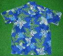 ショッピングキルト アロハシャツ メンズ|PARADISE STYLE(パラダイス スタイル)|PSS056|半袖|メンズ|ブルー(青)|サックスブルー(水色)|ハワイアンキルト柄(花柄)|コットン100%|開襟(オープンカラー)|送料無料