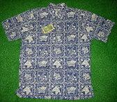 アロハシャツ REYN SPOONER・LAHAINA SAILER(レインスプーナー・ラハイナセイラー) LS001 半袖 ネイビー メンズ ハワイ州旗 ツートーン コットン55%ポリ45%(スプーナークロス) 裏生地仕様 ボタンダウン(プルオーバー) 送料無料商品(10P09Jul16)