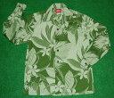 長袖アロハシャツ|AKIMI DESIGNS HAWAII(アキミデザインズハワイ)|ALONG030|メンズ|グリーン(抹茶色)|ツートーン|ハワイアンモチーフ柄|オーバーオールパターン|コットン35%ポリ65%|開襟(オープンカラー)|送料無料