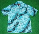 アロハシャツ|AKIMI DESIGNS HAWAII(アキミ デザインズ ハワイ)|AK111|半袖|メンズ|サックス(水色)|ブラウン(茶色)|リーフ..