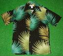 アロハシャツ|ALOHA MADE IN HAWAII(アロハ メイド イン ハワイ)|AL056|半袖|メンズ|ブラック(黒)|葉・リーフ柄(シダ・ハワイアン)|レーヨン100%|開襟(オープンカラー)|送料無料商品