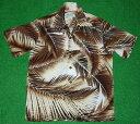 男性流行服飾 - アロハシャツ|ALOHA MADE IN HAWAII(アロハ メイド イン ハワイ)|AL023|半袖|メンズ|ブラウン(茶色)|葉柄(シダ・ヤシの葉)|レーヨン100%|開襟(オープンカラー)|1万円以上で送料無料