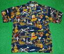 ショッピングハワイアン アロハシャツ|AVANTI SILK(アヴァンティ シルク)|A872NV|半袖|メンズ|ネイビー(紺)|洋柄|ハワイアン|リゾート|魚|カメハメハ大王|旅行|ヴィンテージレプリカ|シルク100%|開襟(オープンカラー)|送料無料