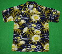 アロハシャツ|AVANTI SILK(アヴァンティ シルク)|A958NV|半袖|メンズ|ネイビー(紺)|花・フラワー柄|月下美人|ムーンライトハニー|ハワイ|南国|レプリカ|ヴィンテージ|シルク100%|開襟(オープンカラー)|送料無料商品