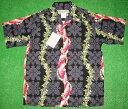 アロハシャツ|HULAKEIKI(フラケイキ)|HU026|メンズ半袖|ブラック(黒)|ハワイアン柄(レイフラワー・ハワイアンフラワー・ハワイアンキルト)|コットン100%|開襟(オープンカラー)|1万円以上で送料無料