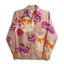 ショッピングアロハシャツ 長袖アロハシャツ|MAKANA LEI(マカナレイ)|AMT037SPLPC|ピーチ(ピンク)|和柄|金魚柄|シルク(膨れジャガードシルク)100%|開襟(オープンカラー)|送料無料商品