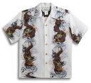 半袖アロハシャツ MAKANA LEI(マカナレイ) AMT055IV アイボリー(白) メンズ 和柄 龍柄 波柄 ボーダー シルク100% 開襟(オープンカラー) 送料無料商品!