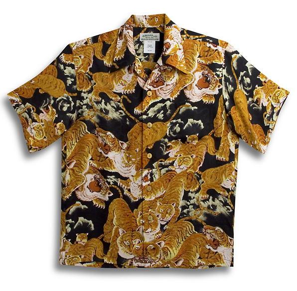 半袖アロハシャツ メンズ 半袖 MAKANA LEI(マカナレイ) AMT035SPBK ブラック(黒) 和柄 百虎柄・タイガー・トラ おしゃれ オーバーオールパターン シルク(膨れジャガードシルク)100% 開襟(オープンカラー) 送料無料商品