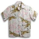 ショッピングアロハシャツ 半袖アロハシャツ|MAKANA LEI(マカナレイ)|AMT052EXI|アイボリーホワイト(白)|和柄|さくら・桜・虎・タイガー柄|シルク(平織りジャガードシルク)100%|開襟(オープンカラー)|送料無料商品