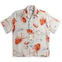 半袖アロハシャツ|MAKANA LEI(マカナレイ)|AMT074IV|アイボリー(白)|メンズ|和柄|伊勢海老柄・貝殻柄|シルク100%|開襟(オープンカラー)|送料無料商品(10P03Sep16)
