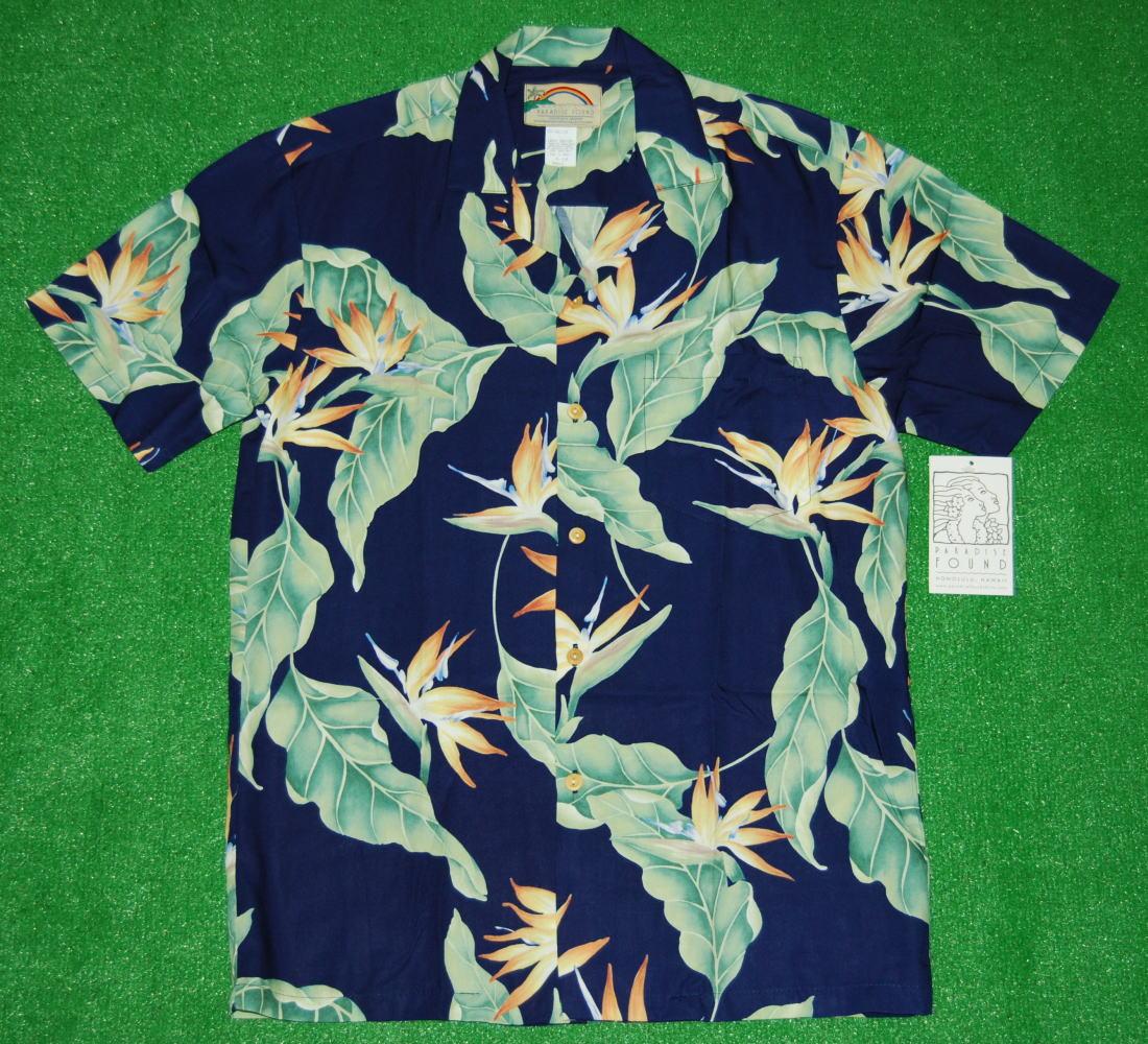 アロハシャツ|PARADISE FOUND(パラダイスファウンド)|PF087|半袖|メンズ|ネイビー(紺)|新品|USサイズ|プレゼント|花柄|バードオブパラダイス|ストレリチア|ハワイアン|レーヨン100%|開襟(オープンカラー)|送料無料商品
