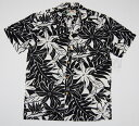 アロハシャツ|PARADISE FOUND(パラダイスファウンド)|PF192|半袖|メンズ|ブラック(黒)|新品|USサイズ|プレゼント|花・葉柄..