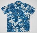 ショッピングアロハシャツ アロハシャツ メンズ 半袖 PARADISE FOUND(パラダイスファウンド) PF190 ターコイズブルー(青緑) 新品 USサイズ プレゼント 花・葉柄 レフア バードオブパラダイス モンステラ シダ ハワイアン レーヨン100% ツートーン 開襟(オープンカラー)