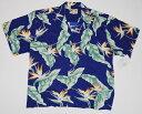 アロハシャツ|PARADISE FOUND(パラダイスファウンド)|PF087|半袖|メンズ|ネイビー(紺)|新品|USサイズ|プレゼント|花柄|バ..