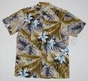 アロハシャツ|PARADISE FOUND(パラダイスファウンド)|PF134|半袖|メンズ|カーキ・グレー|フラワー・花柄(ハワイアン)|リーフ..