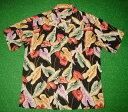 アロハシャツ|PINEAPPLEJUICE(パイナップルジュース)|P33143BK|半袖|メンズ|ブラック(黒)|ハワイアンフラワー柄(花柄・アンセリウム・アンスリウム)|レーヨン100%|開襟(オープンカラー)|送料無料商品(10P03Sep16)