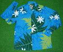 楽天アロハシャツのWAKUWAKU楽天市場店長袖アロハシャツ PARADISE STYLE(パラダイス スタイル) PSY029 ブルー(青) ライトグリーン(黄緑) ホワイト(白) 花柄(ピカケ) リーフ柄(葉・シダ) コットン35%ポリ65% 開襟(オープンカラー) 送料無料(10P04Jul15)