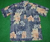 アロハシャツ REYN SPOONER(レインスプーナー) RS384 半袖 メンズ ネイビー(紺) ハイビスカス プルメリア バナナ シダ ハワイアン コットン55%ポリ45%(スプーナークロス) 裏生地仕様 ボタンダウン(プルオーバー) 送料無料商品(10P09Jul16)