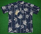 アロハシャツ REYN SPOONER(レインスプーナー) RS411 半袖 メンズ PEARS PARADISE ネイビー(紺) 花・フラワー柄 バードオブパラダイス コットン55%ポリ45%(スプーナークロス) 裏生地仕様 ボタンダウン(プルオーバー) 送料無料商品(10P09Jul16)