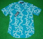 アロハシャツ REYN SPOONER(レインスプーナー) RS449 半袖 CORAL KINE メンズ ターコイズブルー 珊瑚 さんご ハワイ 海 ツートーン コットン61%テンセル39%(スプーナークロス) 表生地仕様 ボタンダウン フルオープン 送料無料商品(10P09Jul16)