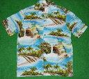 ショッピングアロハシャツ アロハシャツ|RJC(アールジェイシー)|RJC019|半袖|メンズ|サックスブルー(水色)|USサイズ|おしゃれ|プレゼント|海・ヤシの木柄|レーヨン100%|開襟(オープンカラー)|送料無料