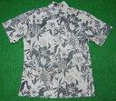 アロハシャツ TWO PALMS(ツーパームス) TWO023 半袖 メンズ ブラック(黒) グレー ハワイアン トロピカル ハイビスカス パイナップル パイン コットン100%(裏地) ノーマル襟 1万円以上で送料無料