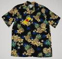 アロハシャツ/メンズ/大きいサイズ/半袖/TWO PALMS(ツーパームス)/濃紺/フラワー柄/レフア/蘭/フルーツ/パイナップル/パイン/プレゼント/ハワイ/ブランド/結婚式/人気/TWO058/レーヨン100%/開襟(オープンカラー)/送料無料