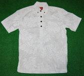 アロハシャツ|AKIMI DESIGNS HAWAII(アキミ デザインズ ハワイ)|AKW075|半袖|メンズ|ホワイト(白・純白)|結婚式・挙式用にも|リーフ・葉柄(モンステラ)|コットン35%ポリ65%|ボタンダウンプルオーバー|送料無料商品