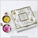 ギフトにとってもオススメ☆プルメリア・香るキャンドル付きガラス製・ハワイアンジュエリーケース
