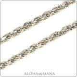 ハワイアンジュエリー ネックレス (Welina)ネックレス カットロープチェーン幅1.0mm(長さ40cm・45cm・50cm)K14ホワイトゴールド dchwrop11040
