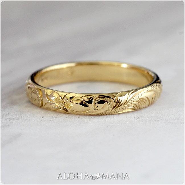 クリスマス プレゼント 女性 男性 マリッジリング 結婚指輪 ハワイアンジュエリー リング レディース メンズ (Weliana) ONLY ONE バレル ゴールドリング (幅3mm/厚み1.5mm) cdr001mili オーダーメイド ハンドメイド