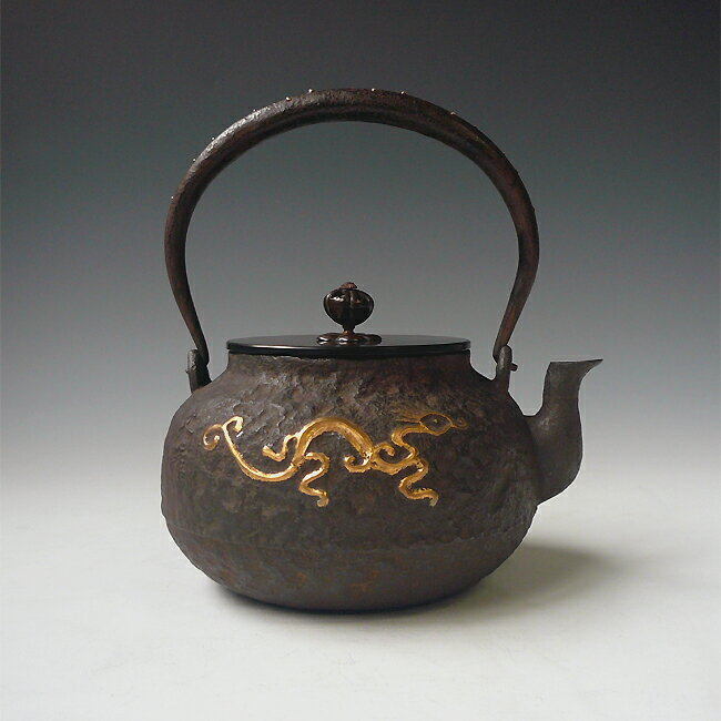 Japan antique gold dragon ryu zen art cast iron tetsubin chagama kettle teapot ebay - Cast iron teapot dragon ...