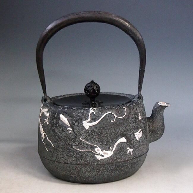 Japan antique silver dragon ryu zen art cast iron tetsubin chagama kettle teapot ebay - Cast iron teapot dragon ...