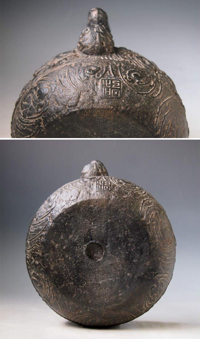 Japanese antique cloud dragon ryu art cast iron tetsubin chagama kettle teapot ebay - Cast iron dragon teapot ...