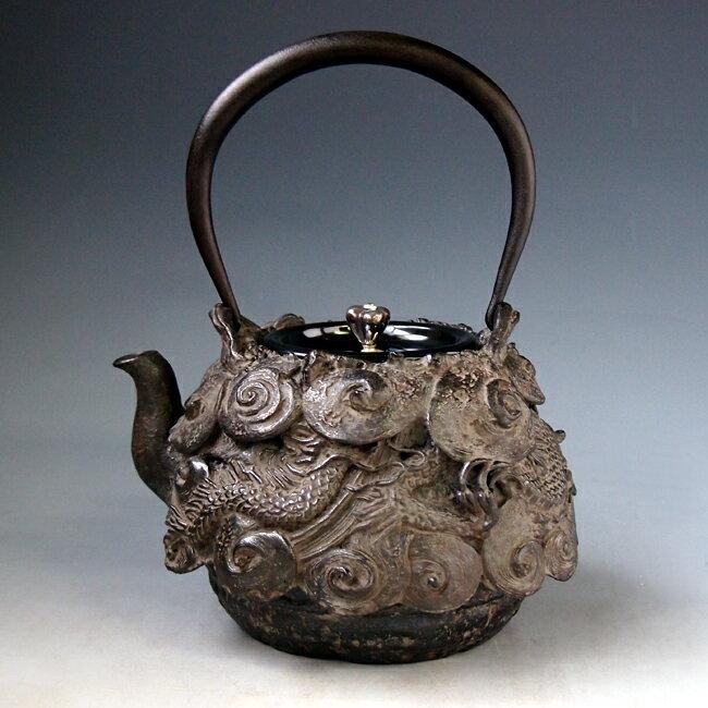 Japanese antique dragon silver gold cast iron tetsubin - Cast iron dragon teapot ...
