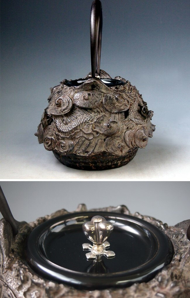 Japanese antique dragon silver gold cast iron tetsubin chagama kettle teapot ebay - Cast iron dragon teapot ...