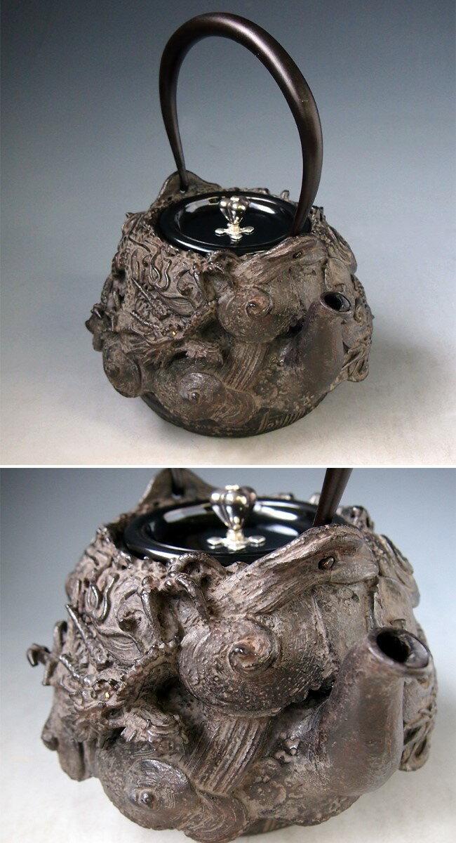 Japanese antique dragon silver gold cast iron tetsubin chagama kettle teapot ebay - Dragon cast iron teapot ...