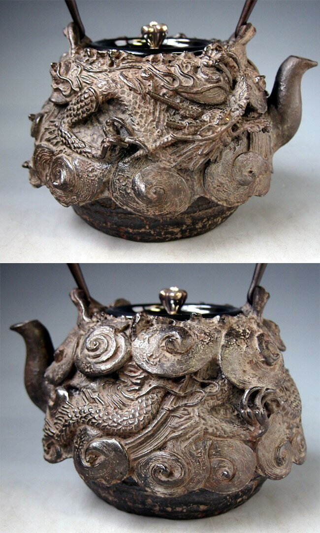 Japanese antique dragon silver gold cast iron tetsubin chagama kettle teapot ebay - Cast iron teapot dragon ...