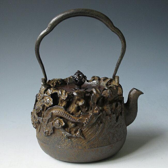 Japanese antique dragon ryu cloud art cast iron tetsubin chagama kettle teapot ebay - Dragon cast iron teapot ...