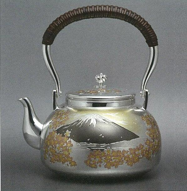 【日本製・証明書付き】純銀 湯沸 4.5寸 富士桜 蓋丸 並型 obg-n135